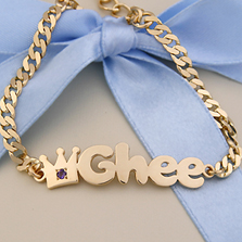 Gold Baby Name Bracelets 14k Yellow B01 Crown Bracelet International Shipping Available